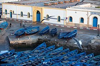 Blue fishing boats in the Harbour, Essaouira, Morocco, North, Africa