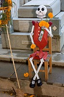 Oaxaca, Mexico, North America  Day of the Dead Celebrations  Cemetery Entrance Decorations, Skeleton in the 'Catrina' Style Popularized by Mexican Art...