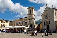 Palazzo Comunale and Cattedrale di S Maria Argentea, Piazza San Benedetto, Norcia, Italy, Umbria