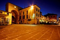 Exit and main square of the historic town of Pietrasanta, Lucca province, Tuscany, Italy