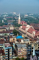 Skyline of central Yangon city with old and new buildings Rangoon Myanmar Burma