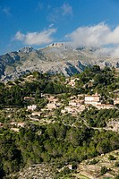 Mola Esclop and town in Galilee, Sierra de Tramuntana, Mallorca, Balearic Islands, Spain