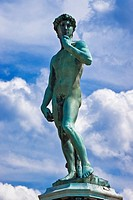 Bronze statue of David from Michelangelo at square Piazzale Michelangelo, establish 1875, projected by Giuseppe Poggi, Florence, Tuscany, Central Ital...