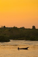 canoe in nile river, uganda