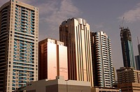 United Arab Emirates, Dubai. The business district of Dubai. the world trade center, Emirates Towers, Dubai International Convention and Exhibition Ce...