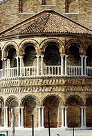 Venice  Italy  The colonnaded exterior of the Basilica dei Santi Maria e Donato, on the island of Murano