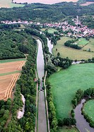 Tonw of France, Burgundy, Nièvre, Armes and the canal of Nivernais viewed from the sky