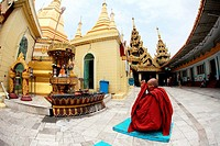 Monk in meditation at sule Paya Pagoda, Yangon Rangoon, Myanmar, Burma, Asia