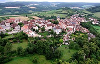 Tonw of France, Burgundy, Yonne, Vezelay viewed from the sky of this site of UNESCO world heritage, famous for its basilica Sainte Madeleine and its p...