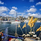 Fishing boat moored in Paimpol harbour Brittany France
