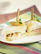Tuna,white asparagus,eggs,lettuce,tomato and mayonnaise sandwich