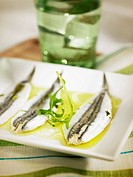 Anchovies marinated in vinaigar,olive oil,garlic and parsley