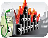 Illustration representing fluctuation in oil prices