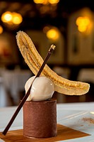 CHOCOLATE MOUSSE AND BANANA SORBET, HOTEL RESTAURANT DE LA FORET, SENoNCHES, EURE_ET_LOIR 28, FRANCE