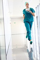 running surgeon in the operating room hallway, Onkologikoa Hospital, Oncology Institute, Case Center for prevention, diagnosis and treatment of cancer...