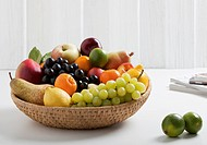 Fruit basket with various fruits, close up