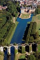 AERIAL VIEW OF THE CHATEAU DE MAINTENoN AND ITS AQUEDUCT, EURE_ET_LOIR 28, FRANCE