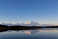 USA, Alaska, View of Mount Mckinley and reflection of pond at Denali National Park