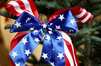 Germany, Christmas tree decorated with stars and stripes ribbon