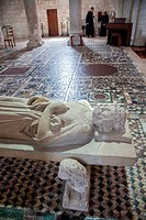 MONKS AND A STATUE OF SAINT BENEDICT IN THE CHOIR OF THE BASILICA OF SAINT_BENoIT_SUR_LOIRE, THE FLEURY ABBEY, ´LOIRE A VELO´ CYCLING ITINERARY, LOIRE...