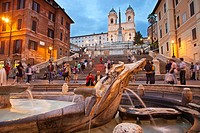 Piazza di Spagna square, Trinita dei Monti church and the Spanish Steps, Rome, Lazio, Italy.