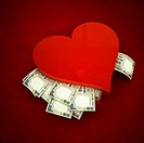 Conceptual shot of Indian paper currency heart shaped gift box