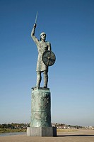 Bronze statue, Maldon, Essex, England. by John Doubleday of Saxon hero Brythnoth, Although defeated by the Danes at the battle of Malden in 991 his ac...