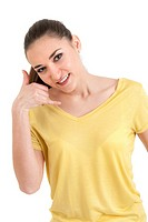 Portrait of beautiful young woman making call me gesture on white background