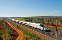 AVE train travelling along La Mancha. Ciudad Real province, Castilla La Mancha, Spain.