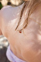 Ladybird on girl´s back