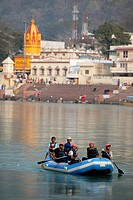 Rafting on the Ganges in Rishikesh, India.
