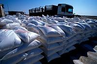 Chott el_djerid salt bags, Tunisia.