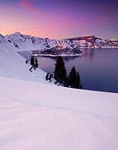 USA, United States, America, Oregon, Crater Lake, National Park, snow, winter, lake, National Park, sunset, Wizard, Wizard Island, Island,