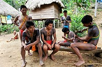 young men of Embera native community living by the Chagres River within the Chagres National Park, Republic of Panama, Central America