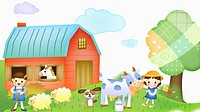 children taking care of a cow, a horse, and sheep