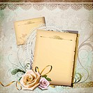 illustration of antique blank memo with roses in front