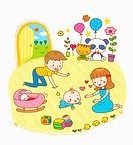 illustration of a couple playing with a baby