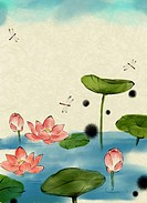 illustration lotus leaves on a lake