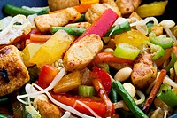 Chinese food with chicken and vegetables, close up