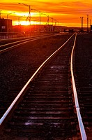 Train tracks at sunset, Gallup, New Mexico USA