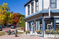 A storefront and street in Bayfield, Wisconsin, USA