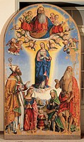 The Immacolata with God the Father in Glory and St. Augustine, St. Jerome, St. Anne and Emperor Constance II, by Marchesi Girolamo known as Girolamo d...