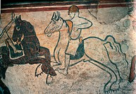 Outside figured frieze with Battle Scenes, 13th Century, fresco,