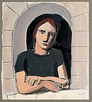 Woman at the window Donna alla finestra, by Mario Sironi, 20th Century, ink and tempera on board, 25 x 22 cm