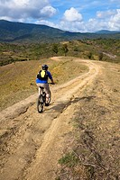 mountain biker on the track