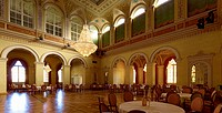 Hall at the Kurhaus, Staatsbad Bad Brueckenau, Bad Kissingen district, Lower Franconia, Bavaria, Germany