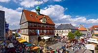 Market Square with City Hall at Old Town Festival, Bad Staffelstein, Upper Franconia, Bavaria, Germany
