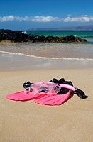 Snorkelling gear at Makena, Maui, Hawaii.