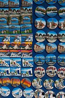 an assortment of tacky fridge magnets, with scenes of Rhodes, for sale to tourists in Rhodes old town Rodos