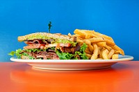 BLT sandwich. Bacon, lettuce, and tomato sandwich served with french fries. Plated on orange table with blue background.